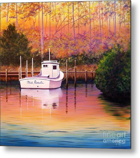 Landscape Metal Print featuring the painting Evening Glow by Hugh Harris