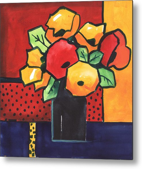 Painting Metal Print featuring the painting Favorite Funny Flowers 2 by Carrie Allbritton