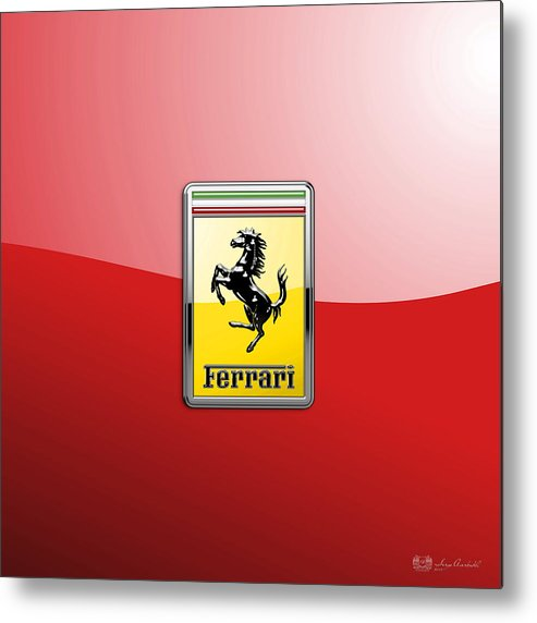 �auto Badges� Collection By Serge Averbukh Metal Print featuring the photograph Ferrari 3D Badge-Hood Ornament on Red by Serge Averbukh