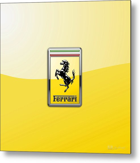 �auto Badges� Collection By Serge Averbukh Metal Print featuring the photograph Ferrari 3D Badge- Hood Ornament on Yellow by Serge Averbukh