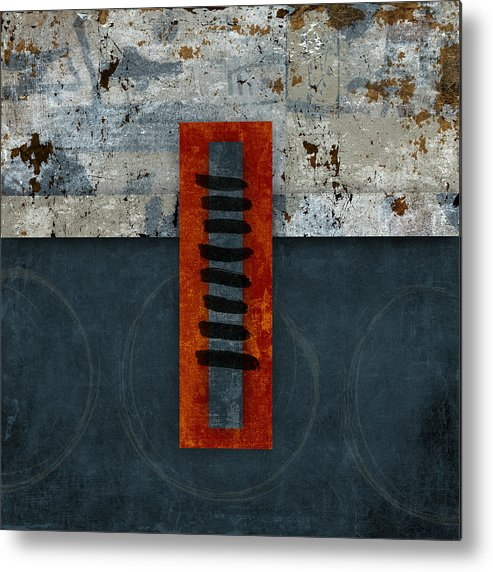 Red Metal Print featuring the photograph Fiery Red and Indigo One of Two by Carol Leigh