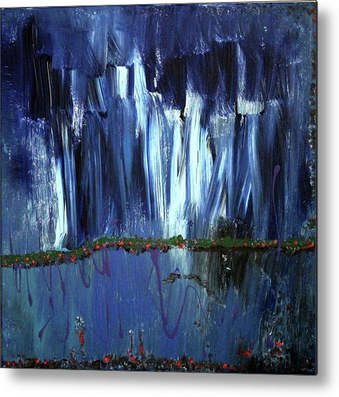 Blue Metal Print featuring the painting Floating Gardens by Pam Roth O'Mara