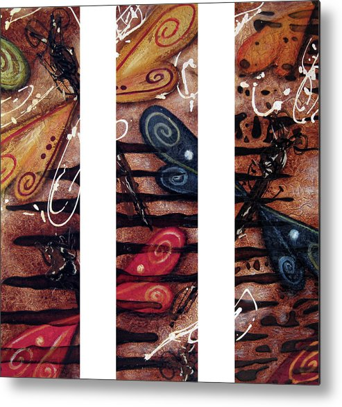 Abstract Metal Print featuring the painting Fossil by Jill English