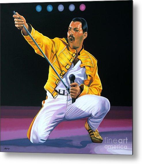 Freddie Mercury Metal Print featuring the painting Freddie Mercury Live by Paul Meijering
