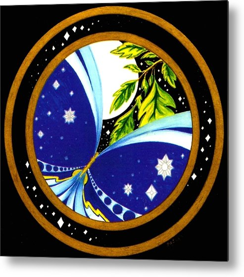 Butterfly With Stars Metal Print featuring the painting FREEDOM Mandala Series number eleven by Pam Ellis