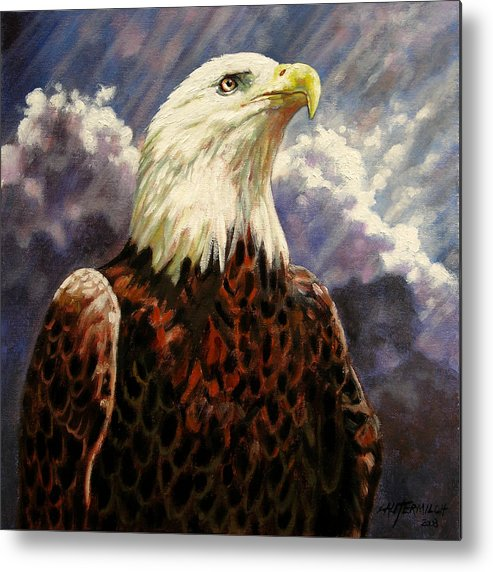 American Bald Eagle Metal Print featuring the painting God Bless America by John Lautermilch