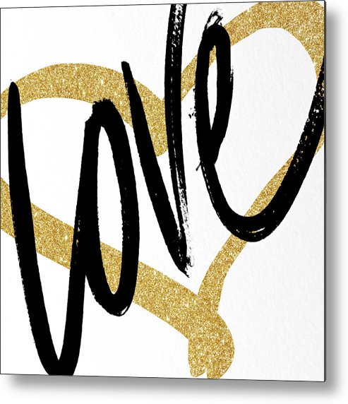 Gold Metal Print featuring the painting Gold Heart Black Script Love by South Social Studio