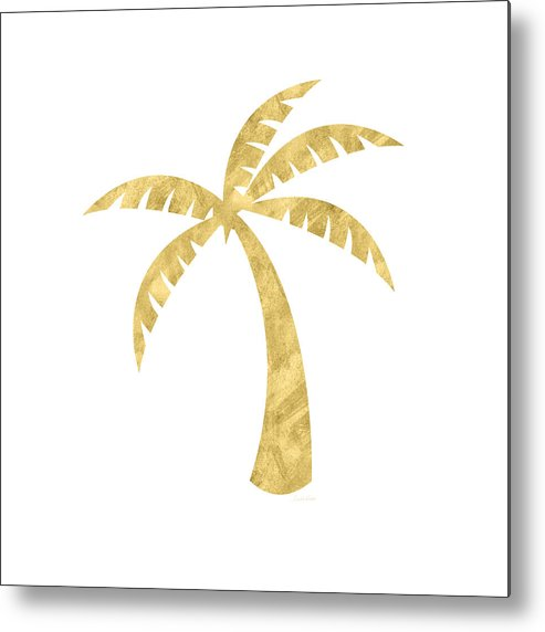 Palm Tree Metal Print featuring the mixed media Gold Palm Tree- Art by Linda Woods by Linda Woods