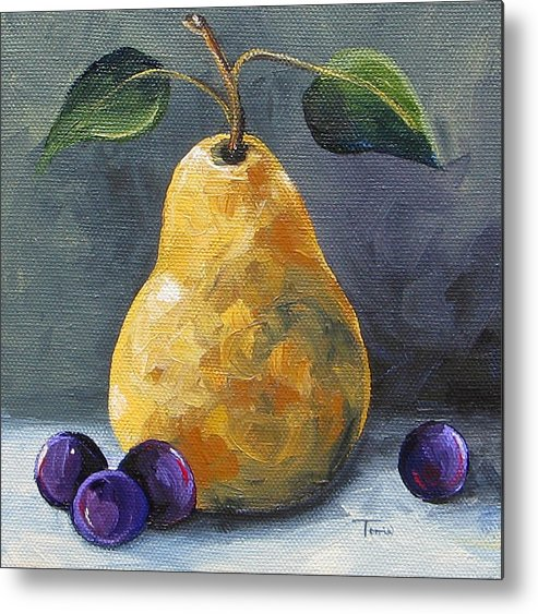 Pear Metal Print featuring the painting Gold Pear with Grapes II by Torrie Smiley