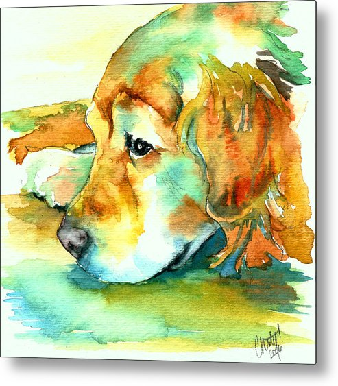Golden Retriever Metal Print featuring the painting Golden Retriever Profile by Christy Freeman Stark