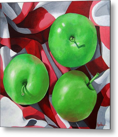 Apples Metal Print featuring the painting Green Apples still life painting by Linda Apple