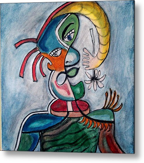 Abstract Face Metal Print featuring the painting Hand Me A Flower by W Todd Durrance
