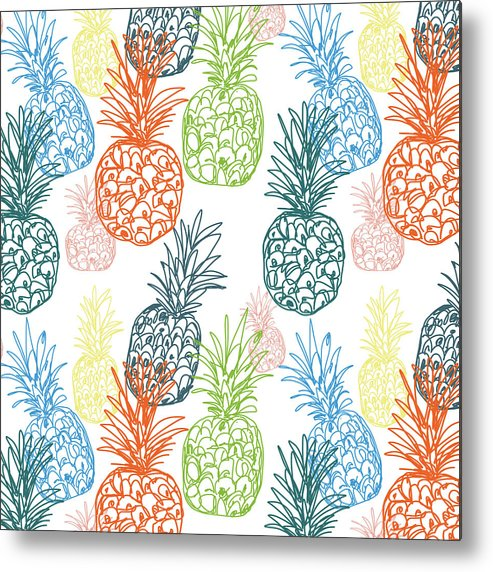 Pineapple Metal Print featuring the digital art Happy Pineapple- Art by Linda Woods by Linda Woods