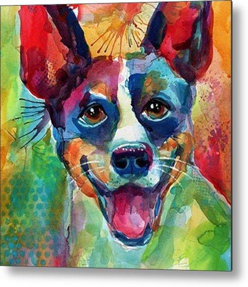 Custompetportrait Metal Print featuring the photograph Happy Rat Terrier Watercolor Portrait by Svetlana Novikova