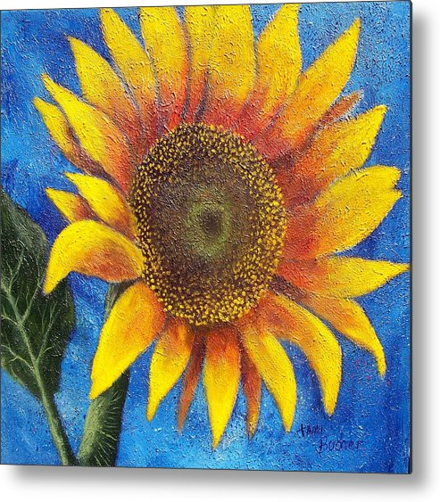 Sunflower Metal Print featuring the painting Happy Sunflower by Tami Booher