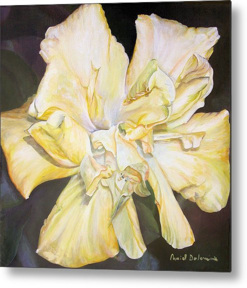 Floral Painting Metal Print featuring the painting Hibiscus Jaune by Muriel Dolemieux