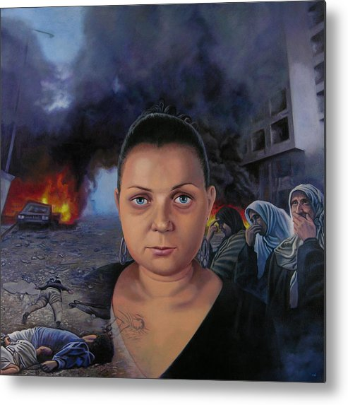 Layal Nagib Metal Print featuring the painting Homage To Layal Nagib by Miguel Tio