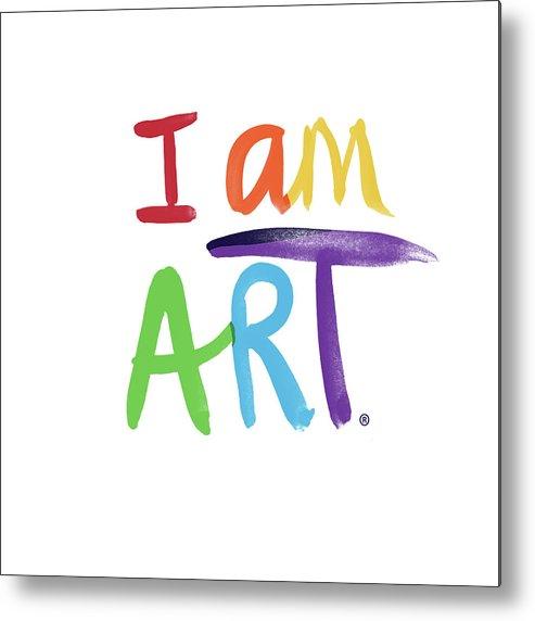 Rainbow Metal Print featuring the painting I AM ART Rainbow Script- Art by Linda Woods by Linda Woods