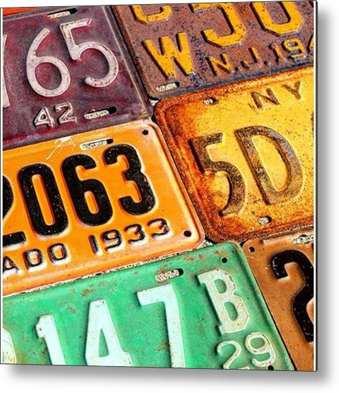 Steel Metal Print featuring the photograph I Run Across A Lot Of Plates Too Old by Design Turnpike