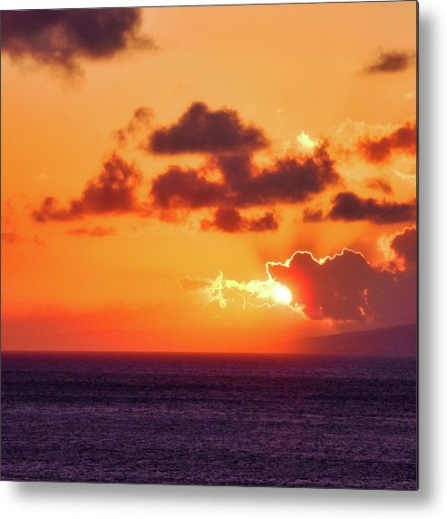 Setting Sun Metal Print featuring the photograph I Think I Will Swallow the Sun by Kirsten Giving