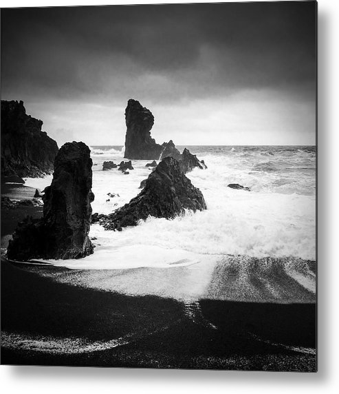 Iceland Metal Print featuring the photograph Iceland Dritvik beach and cliffs dramatic black and white by Matthias Hauser