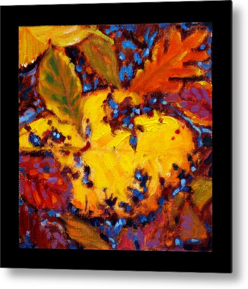 Fall Leaves Metal Print featuring the painting Indian Summer detail seven by John Lautermilch