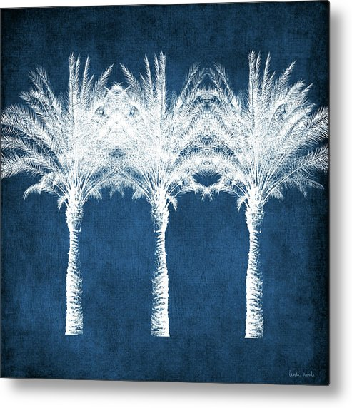 Palm Tree Metal Print featuring the mixed media Indigo And White Palm Trees- Art by Linda Woods by Linda Woods