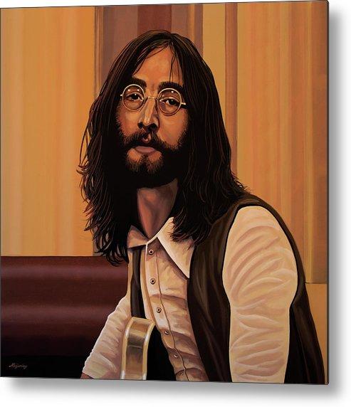 John Lennon Metal Print featuring the painting John Lennon Imagine by Paul Meijering