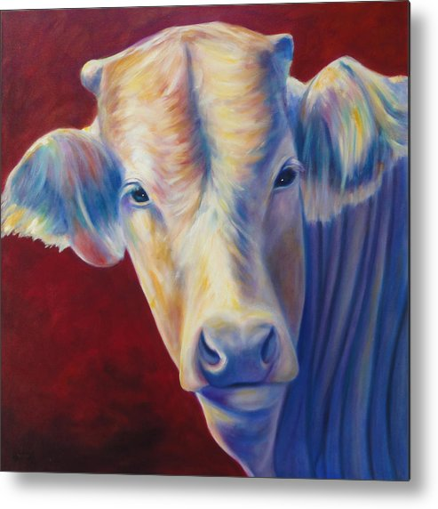 Bull Metal Print featuring the painting Jorge by Shannon Grissom