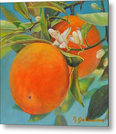 Acrylic Painting Metal Print featuring the painting Jumelles Orange by Muriel Dolemieux