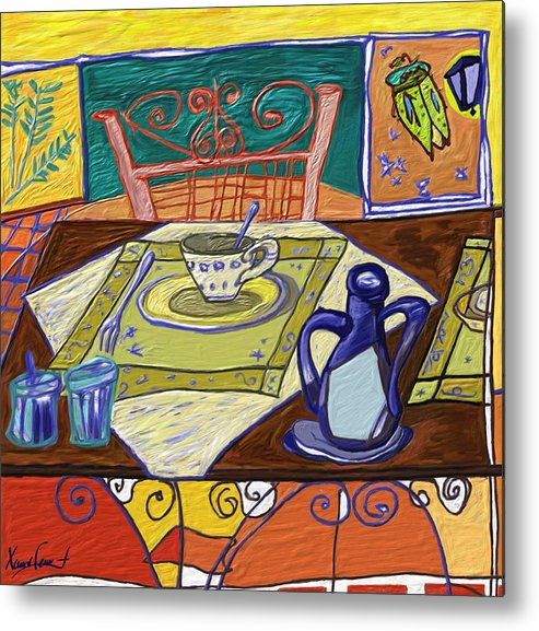 Still Life Metal Print featuring the painting La taula by Xavier Ferrer