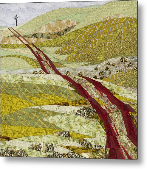 Landscape Metal Print featuring the tapestry - textile Landmarks by Linda Beach