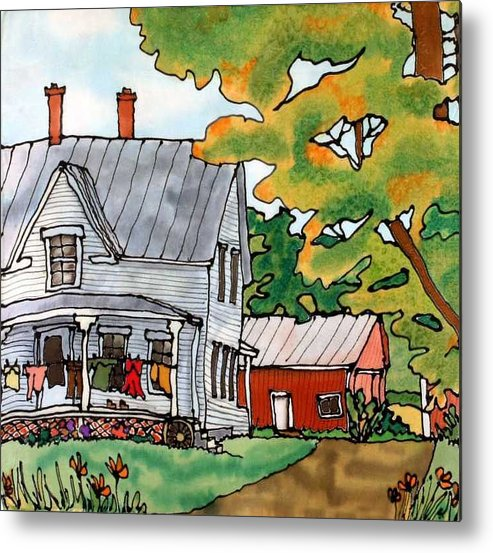 Farm Metal Print featuring the painting Laundry Day by Linda Marcille
