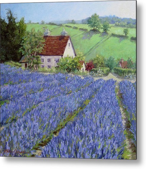 England Landscape Metal Print featuring the painting Lavender Hill by L Diane Johnson