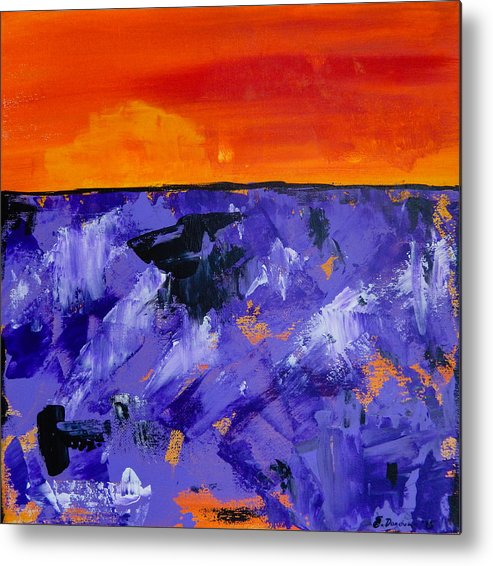 Lavender Metal Print featuring the painting Lavender Sunset Abstract Landscape by Eliza Donovan