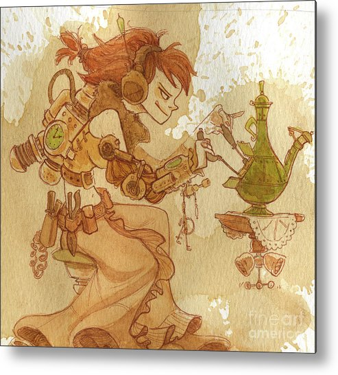 Steampunk Metal Print featuring the painting Lemongrass by Brian Kesinger