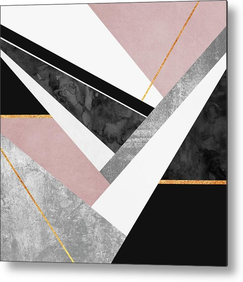 Digital Metal Print featuring the digital art Lines and Layers by Elisabeth Fredriksson