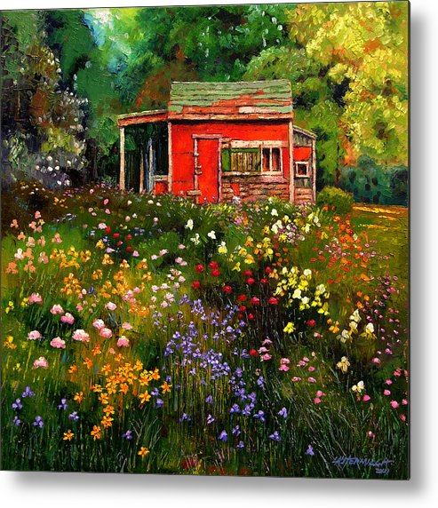 Flower Garden Metal Print featuring the painting Little Red Flower Shed by John Lautermilch