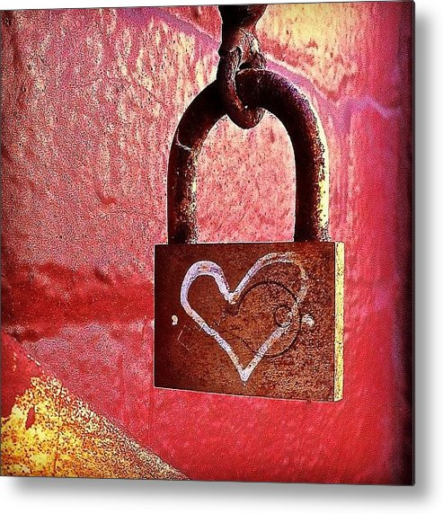Lock Metal Print featuring the photograph Lock/heart by Julie Gebhardt