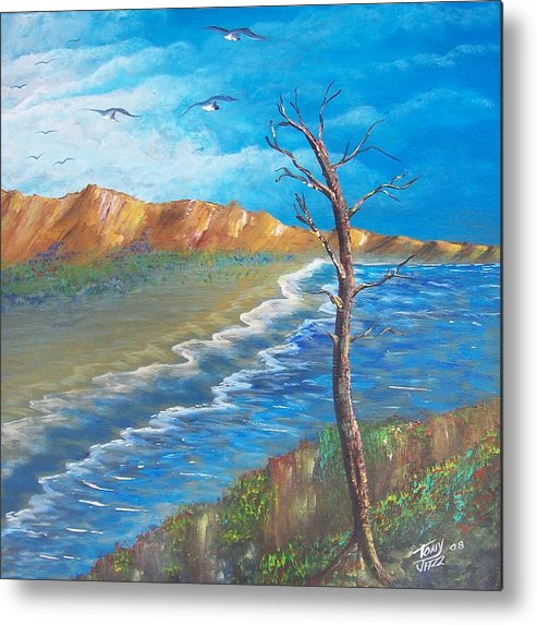 Seascape Metal Print featuring the painting Lone Tree by Tony Rodriguez