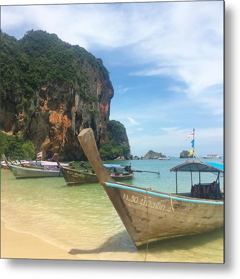 Thailand Metal Print featuring the photograph Lounging Longboats by Ell Wills
