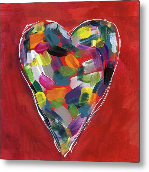 Heart Metal Print featuring the painting Love Is Colorful - Art by Linda Woods by Linda Woods