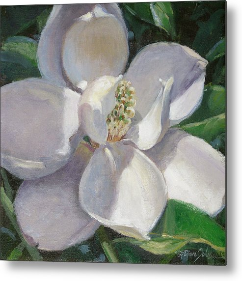 Magnolia Metal Print featuring the painting Magnolia by L Diane Johnson