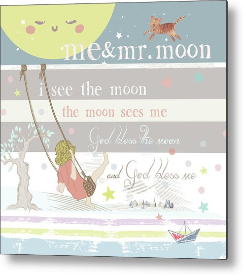 Metal Print featuring the digital art Me and Mr. Moon by Claire Tingen