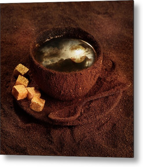 Coffee Metal Print featuring the photograph Milky moonlight by Floriana Barbu