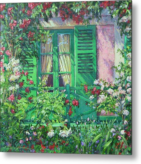 Monets House In Giverny France Metal Print featuring the painting Monet's Window by L Diane Johnson