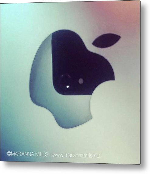 Designer Metal Print featuring the photograph My Iphone Reflection On My Macbook Pro by Marianna Mills