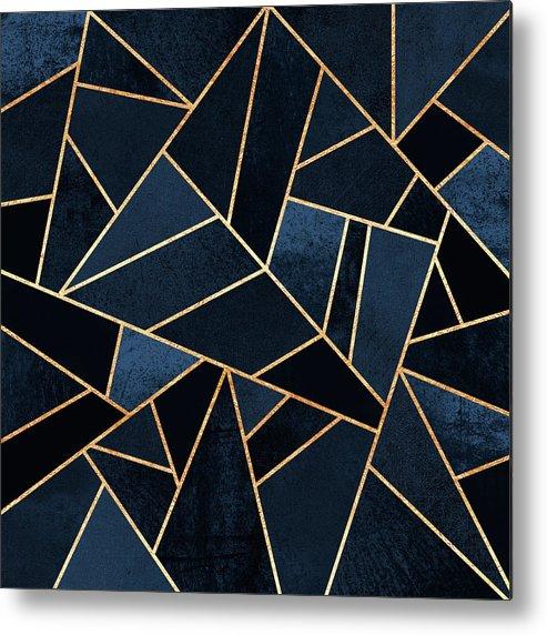 Digita Metal Print featuring the digital art Navy Stone by Elisabeth Fredriksson
