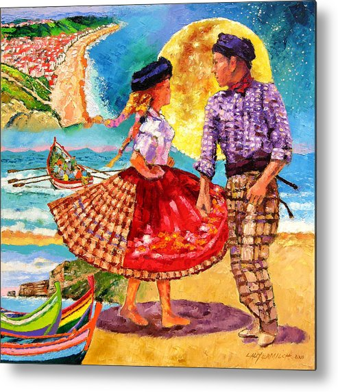 Dancers Metal Print featuring the painting Nazare Portugal by John Lautermilch