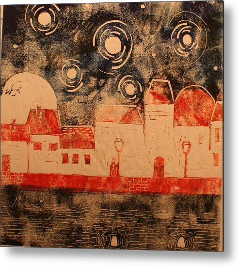 Cityscape Metal Print featuring the painting Nocturne in Florence by Biagio Civale